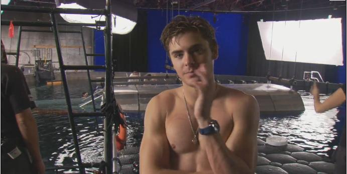 Zac Efron Shirtless On Set