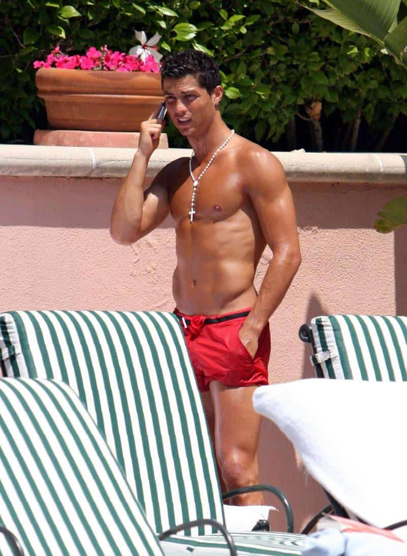 Cristiano Ronaldo shirtless poolside