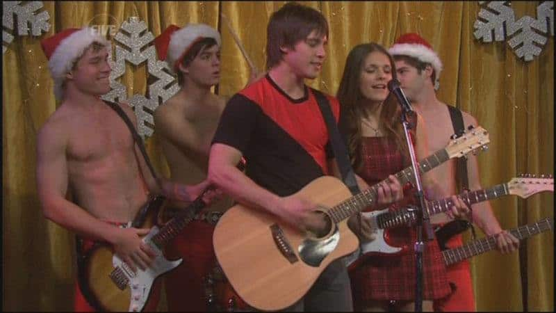 James Sorensen and Sam Clark in shirtless xmas outfit image