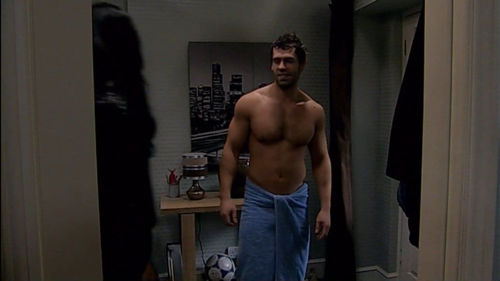 Kelvin Fletcher Shirtless In Just A Towel In Emmerdale image