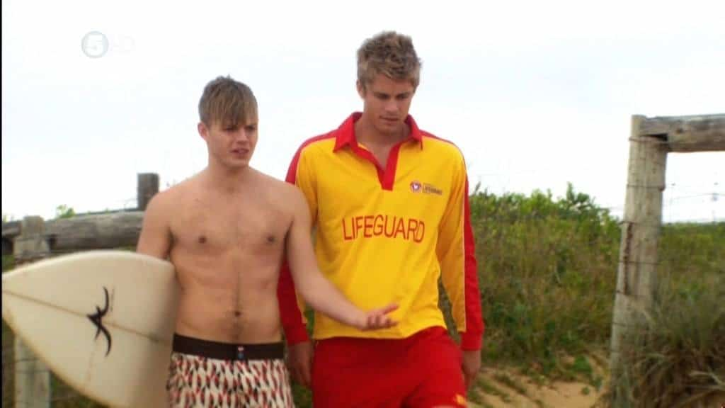 David Jones Roberts Shirtless At The Beach On Home and Away