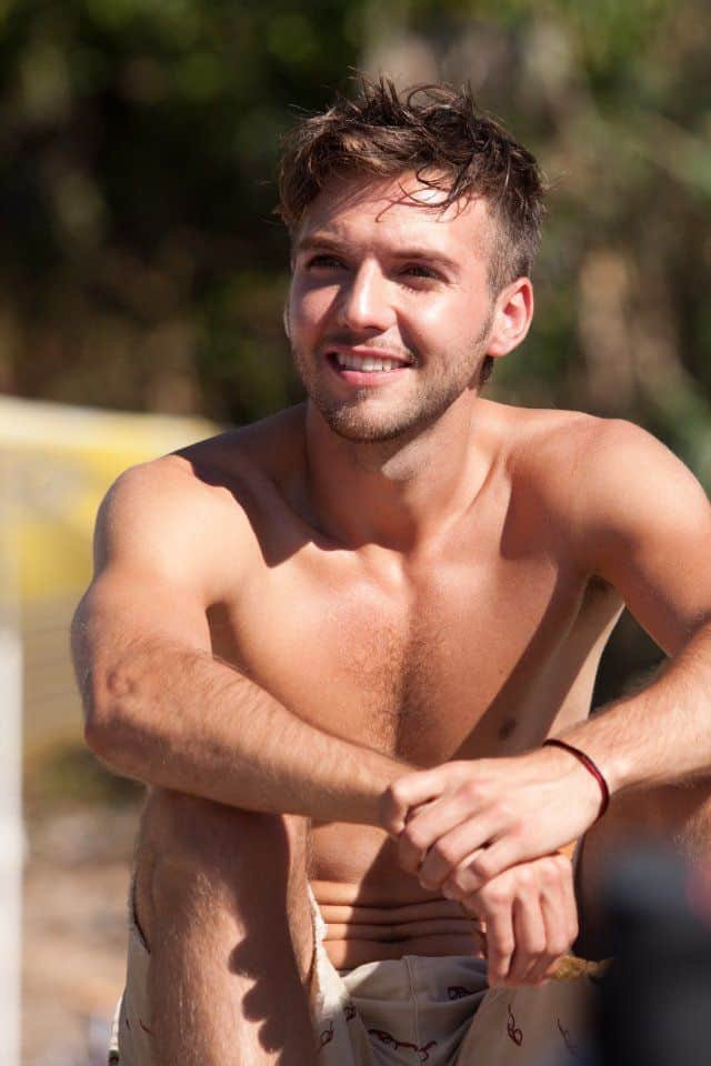 Guy Burnet Shirtless At The Beach