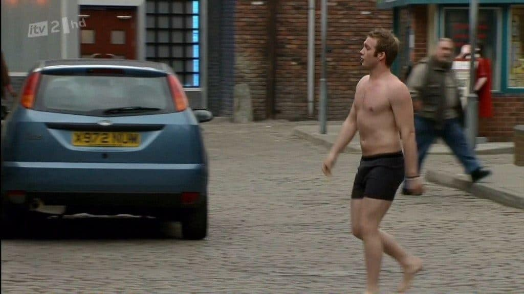 Chris Fountain Shirtless In Just Boxers In Coronation Street
