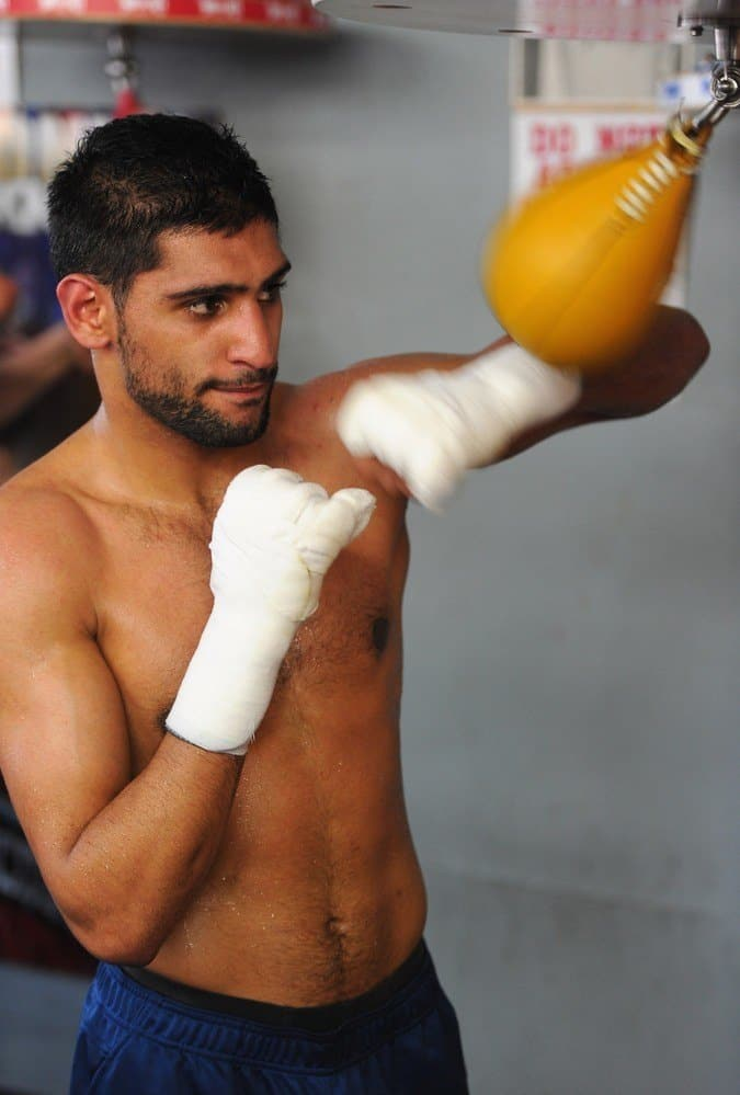 Amir Khan Sweaty and Shirtless In Training