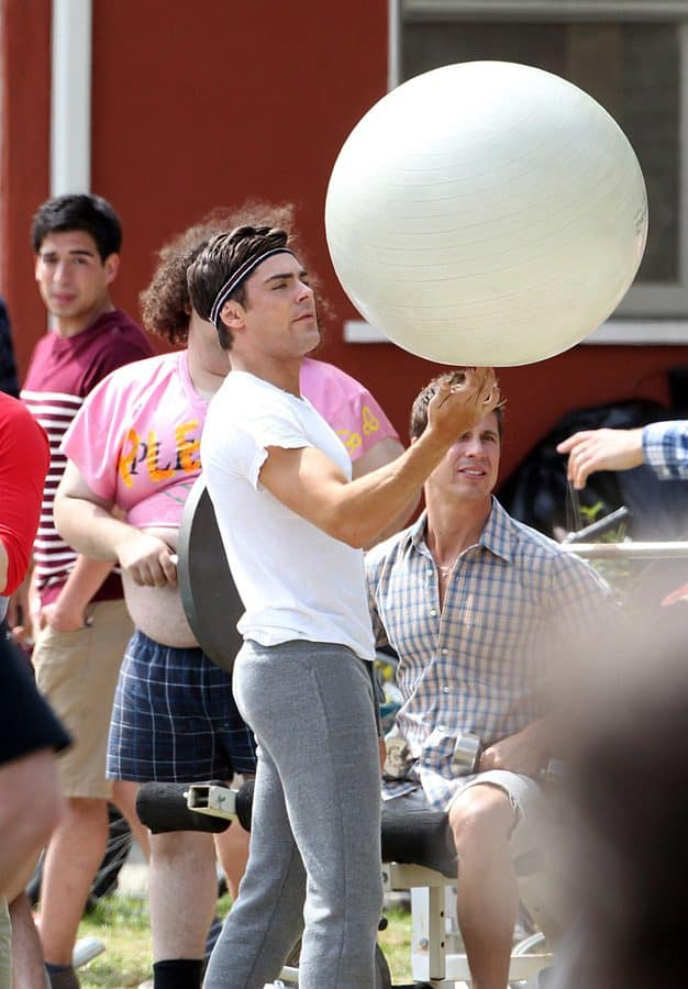 Zac Efron and Dave Franco play with big balls while filming scenes for 'Townies' in Los Angeles