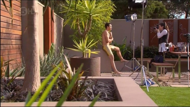 Harley Bonner Shirtless In Gold Lycra Pants
