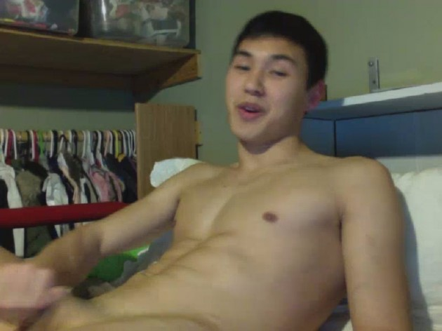 Fit Asian Lad Wanking image