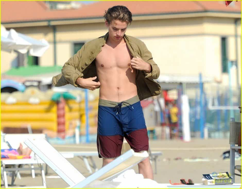 Dylan and Cole Sprouse Shirtless At Beach image