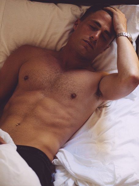 Colton Haynes Shirtless In Bed image