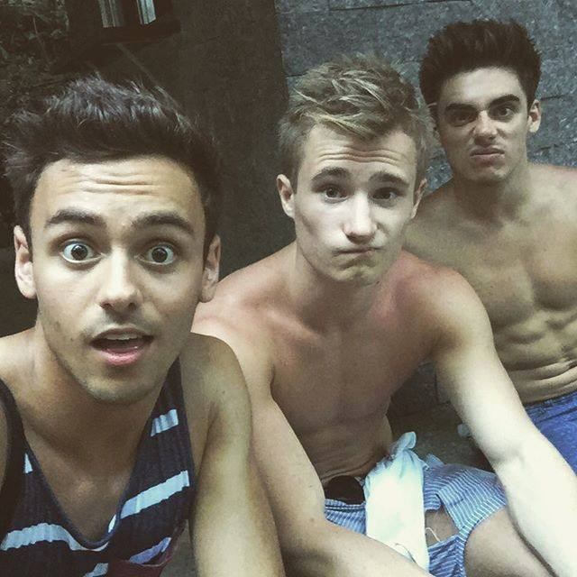 British Diving Trio Shirtless   Tom Daley, Jack Laugher and Chris Mears image