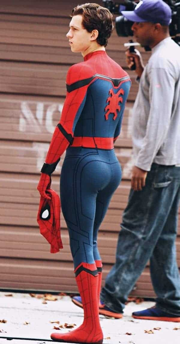 tom holland in spiderman suit bubble butt