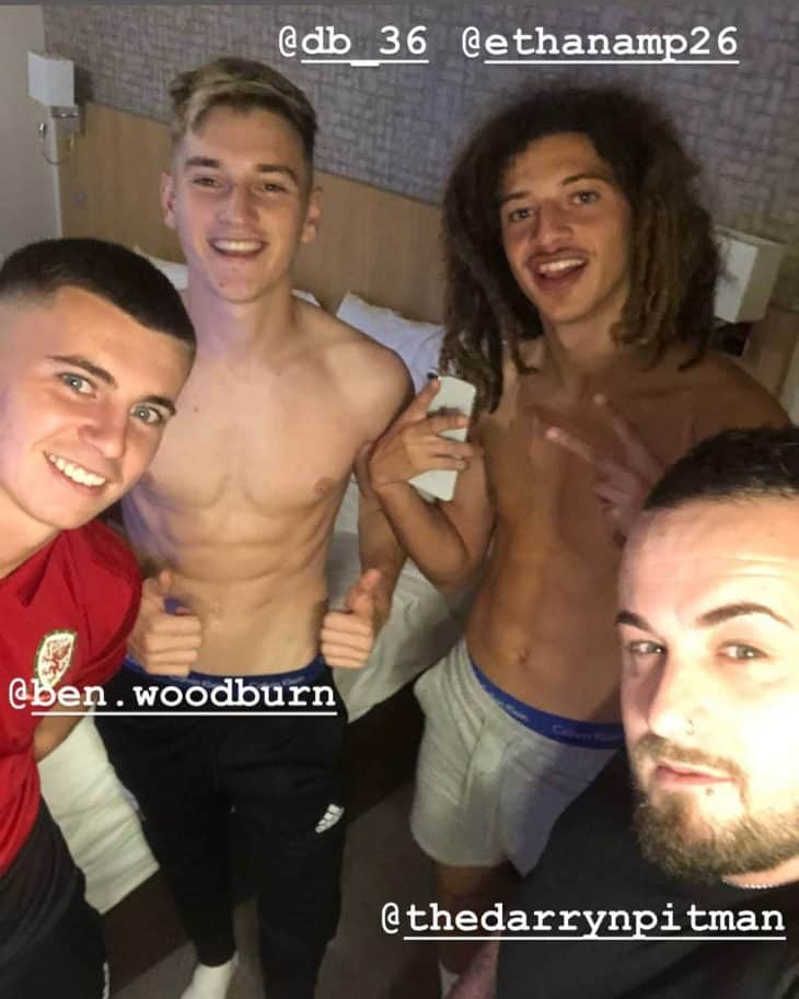 david brooks shirtless with friends
