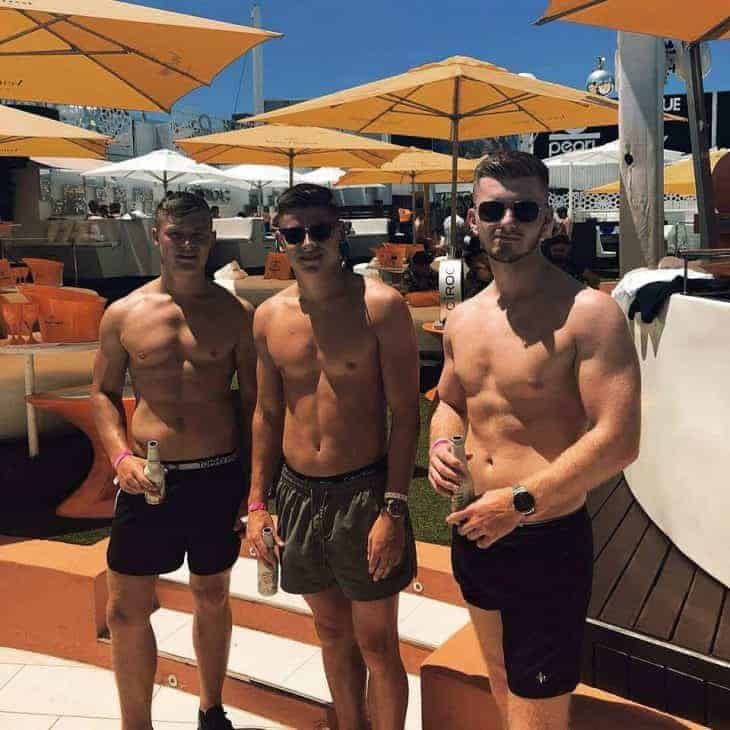 Harvey Barnes shirtless with mates
